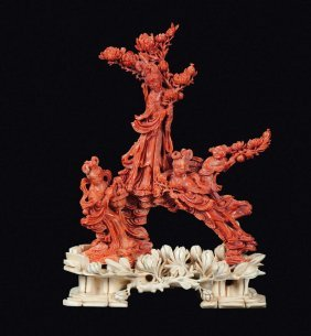 A Red Coral �Guanyin And Boys� Group, China, Qing
