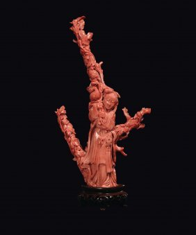 A Carved Coral Guanyin With Birds, China, Qing Dynasty,