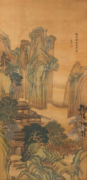 A Painting On Paper Depicting Mountain Landscape With
