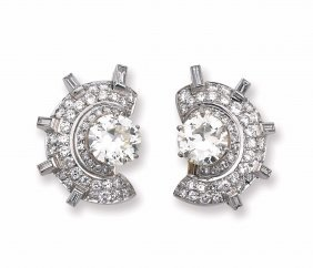 An Art Deco Diamond And Platinum Earrings