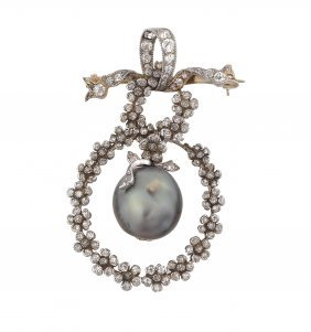 A Natural Pearl, Diamond And Platinum Pendant/brooch