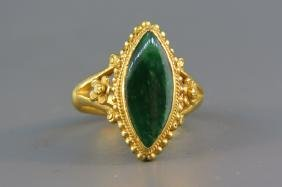 Chinese Jade & 22k Gold Ring, Signed,