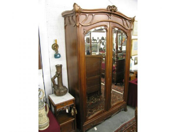772a french victorian armoire art nouveau floral lot 772a. Black Bedroom Furniture Sets. Home Design Ideas