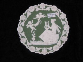 "Jasperware Plaque, Maiden & Cherubs, 6""."
