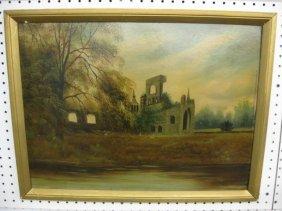 19th Century Oil On Board Of Ruins, Along The Water