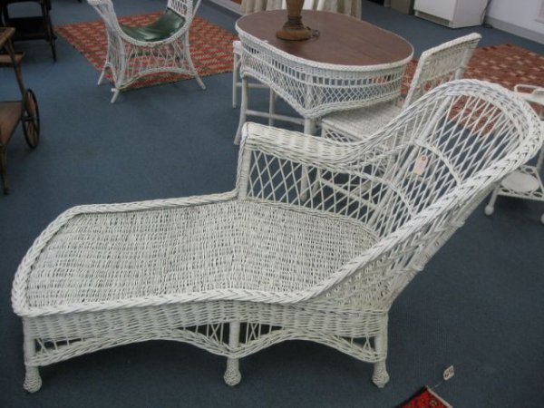 205 antique wicker chaise lounge 68 long lot 205 for Antique wicker chaise