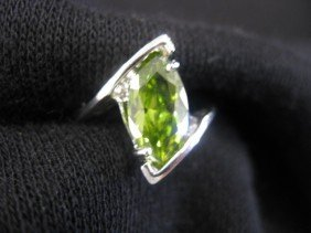 Peridot Ring, Vivid 5 Carat Marquise Gem