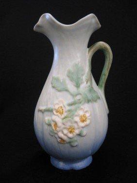 """Weller Art Pottery Ewer, """"White Rose"""","""