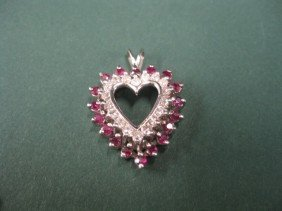Ruby & Diamond Heart Pendant, 18 Diamonds