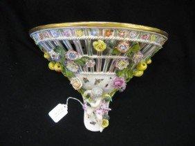 Meissen Porcelain Wall Sconce, Elaborate Applied F