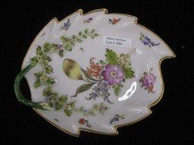 Meissen Porcelain Figural Leaf Dish, Handpainted F