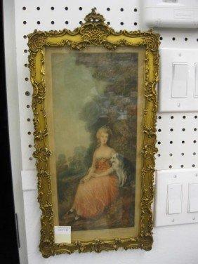 Mezzotint, Lady With Dog, Fancy Gold Frame,