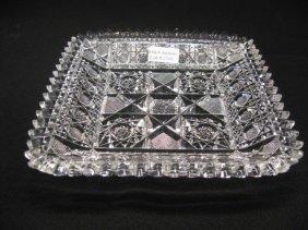 Brilliant Cut Glass Square Dish Or Tray,