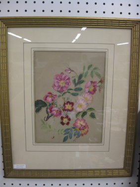 Oil Painting, Wild Roses, On Paper,