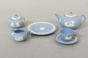 Wedgwood Blue Jasperware Child's Dishes,