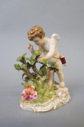 Meissen Porcelain Figurine Of A Cherub Gardening,