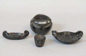 4 Pcs. Santa Clara Type Indian Pottery,
