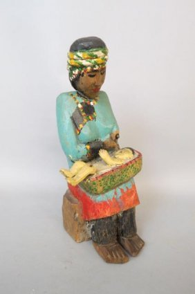Indian Style Carved Wood Figure Of Mother And