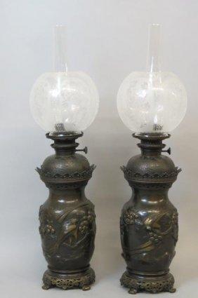 Pair Of Japanese Bronze Oil Lamps,