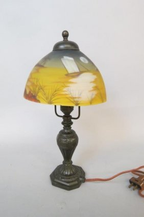 Pairpoint Lamp With Reverse Painted Shade,