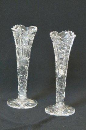 Pair Of Cut Glass Trumpet Vases,