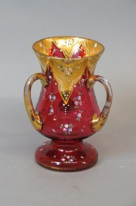 Enameled Cranberry Art Glass Loving Cup,