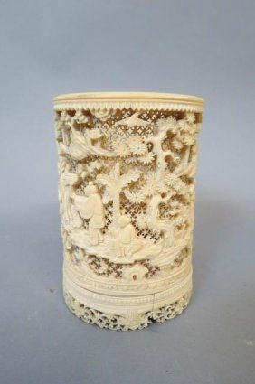 Chinese Carved Ivory Brush Pot,