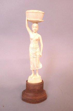 Carved Ivory Figurine Of A Lady,