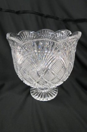 Waterford Cut Crystal Large Vase Or Centerpiece,