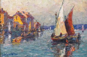 J. Colombini Oil Painting Of Boats In Harbor,