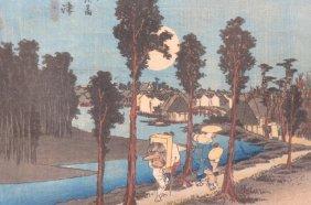 """Hiroshige Japanese Woodblock """"numazu"""","""
