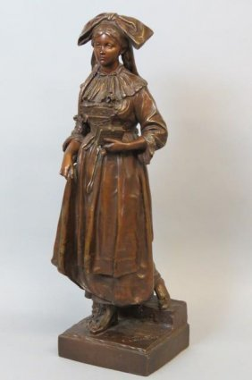 Eugene Laurent Bronze Statue Of Lady With Book,
