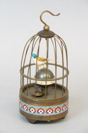 Mechanical Bird In Cage Clock,