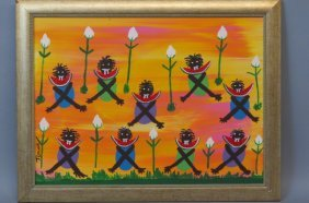 Juanita Leonard Folk Art Painting Of Watermelon
