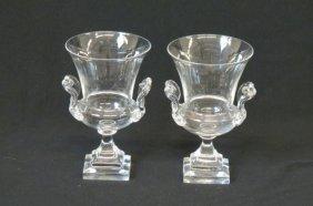 Pair Of Steuben Crystal Urn Shape Vases,