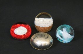4 Art Glass Paperweights, Sulfide By