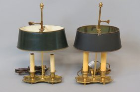 Pair Of Brass Director Lamps,