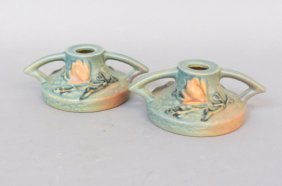 "Pair Of Roseville ""magnolia"" Pottery Candleholders"