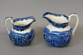 "2 Wedgwood ""ferrara"" Ironstone Pitchers,"