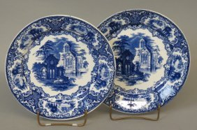"2 Maastricht ""abbey"" Ironstone Plates,"