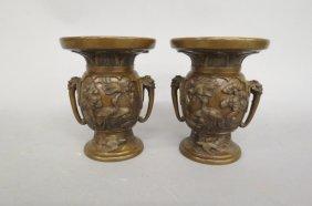 Pair Of Japanese Bronze Vases, Meiji Period,