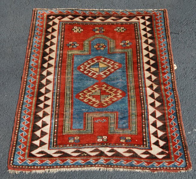 Prayer Rug Company: 307: BORDJALOU KAZAK PRAYER RUG : Lot 307