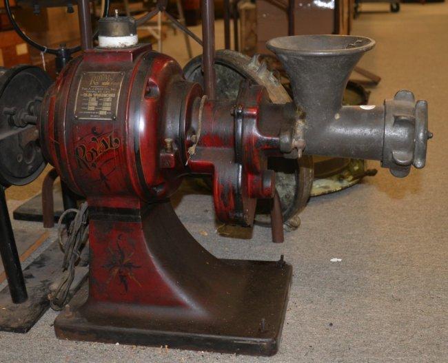 Antique Electric Grinder ~ The royal cast iron electric meat grinder a j deer c