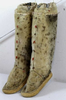 229 Inuit Eskimo Leopard Seal Skin Mukluks Lot 229