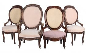 French Rococo Rosewood Carved Chairs C. 1800