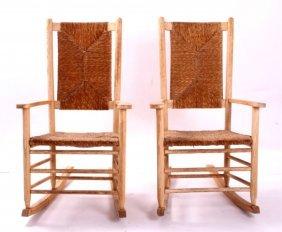 Wooden Wicker Rocking Chairs