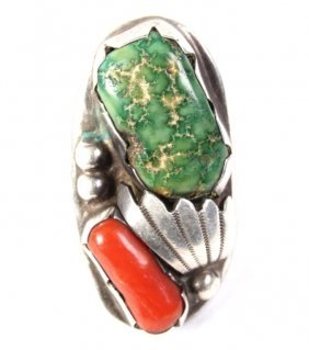 Navajo Men's Pawn Silver Turquoise & Coral Ring