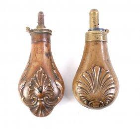 J.w. Hawksley Copper Powder Flask C. 1830-1870