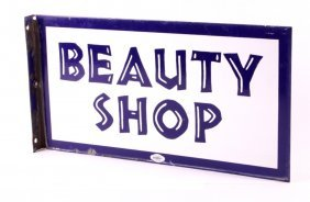 Porcelain Beauty Shop Flanged Sign