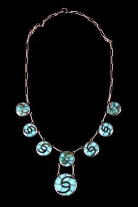 Navajo Silver & Turquoise Pinwheel Necklace